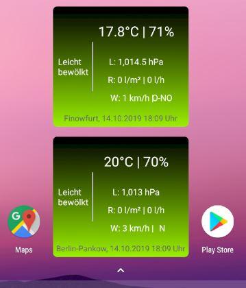 Wetter-Widget auf einem Android-Gerät