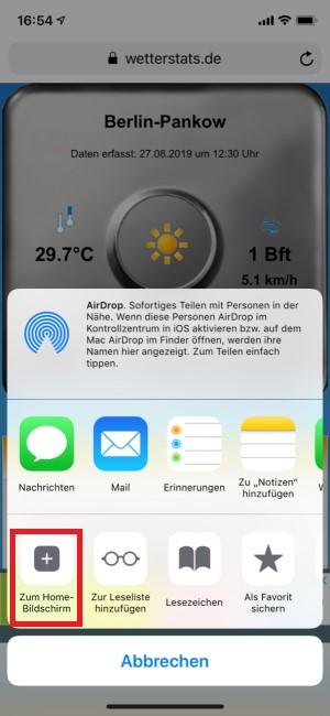 Anzeige des Auswahlmenüs und Markierung des Home-Bildschirms